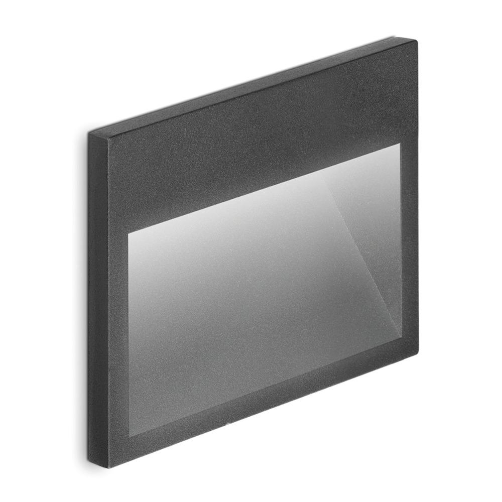Lampdirect Kat Inbouw LED Wandlamp IP65 3W 830 150Lm Antraciet   Warm Wit