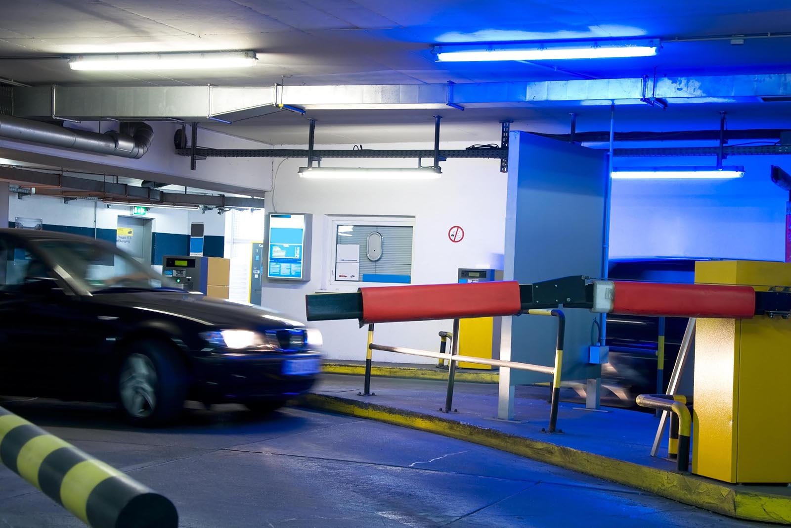 parking garage with cars