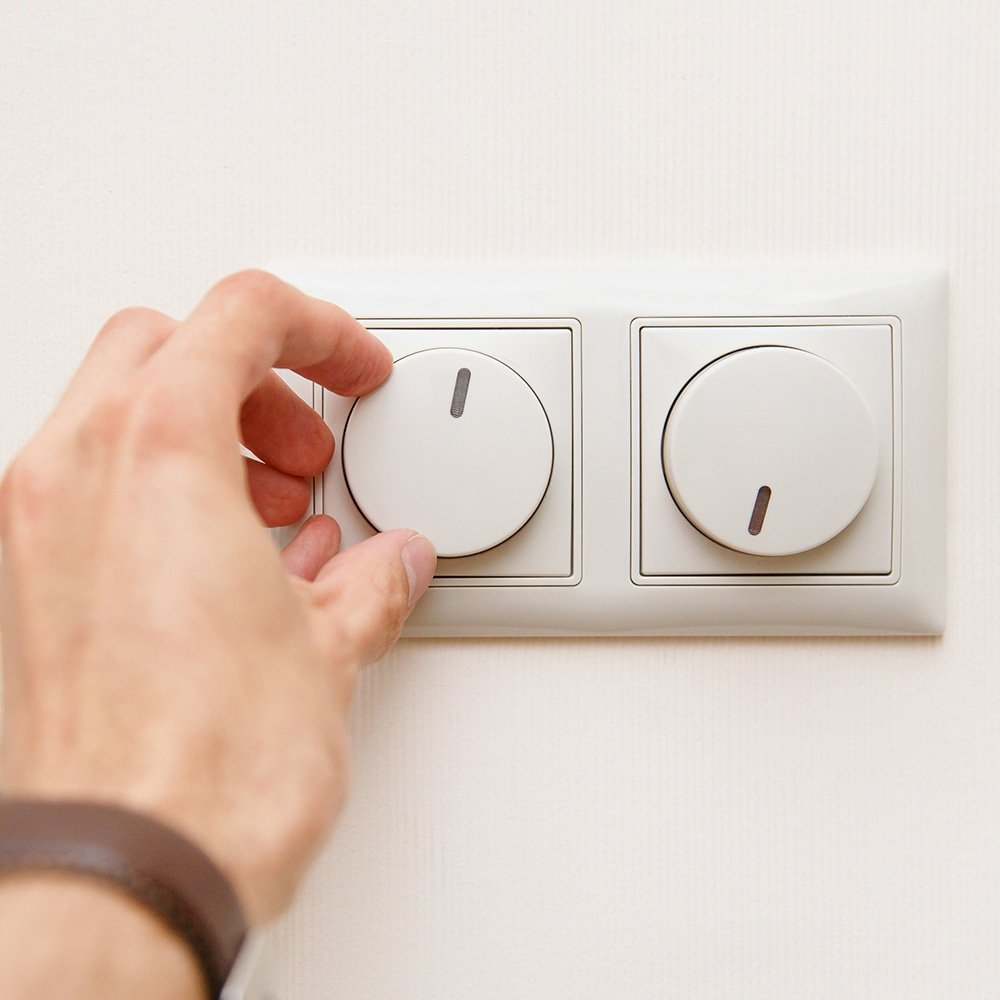 hand operating dimmer