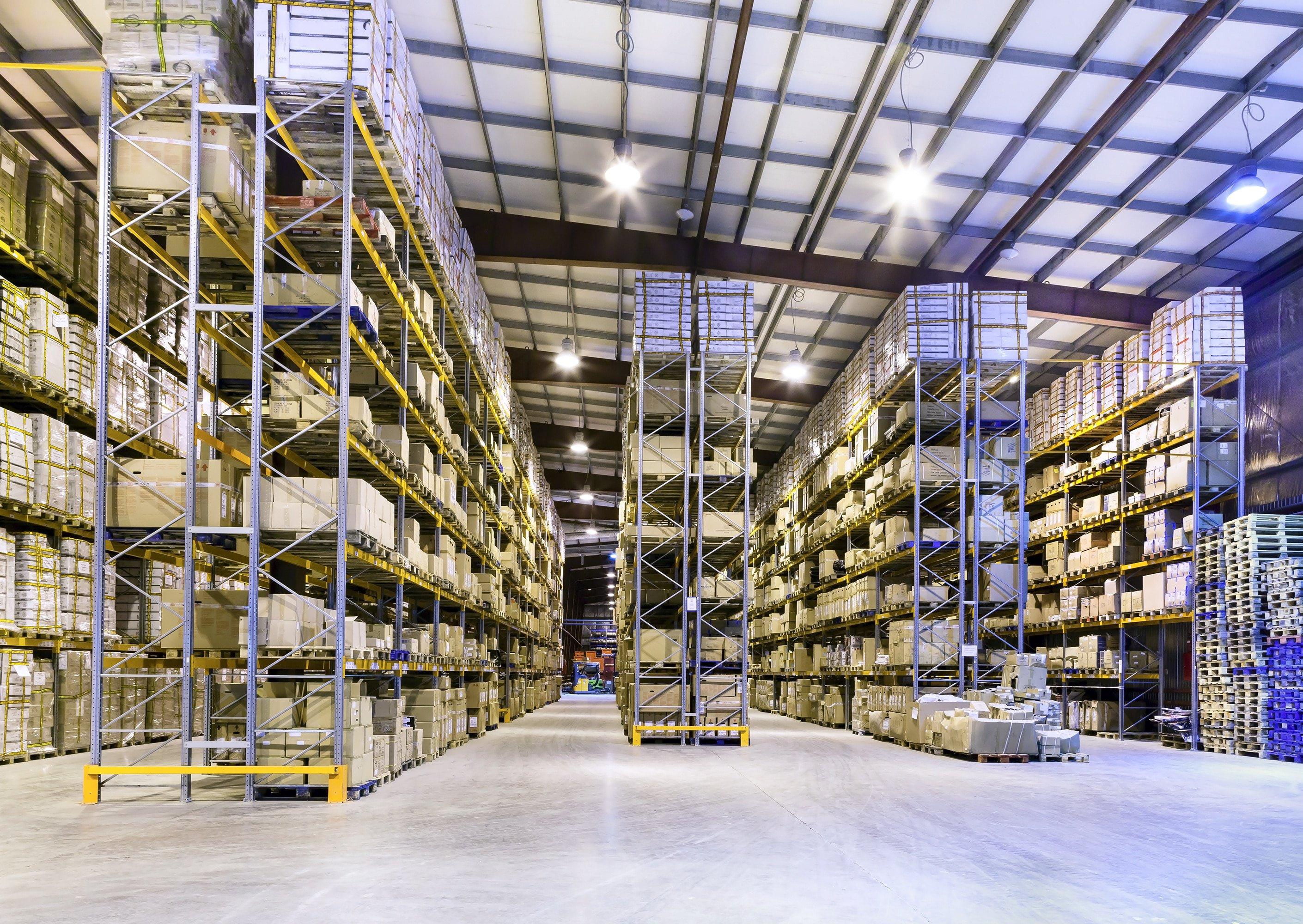 warehouse with DALI LED panels